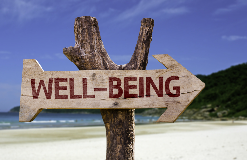 Well-Being wooden sign with a beach on background-2