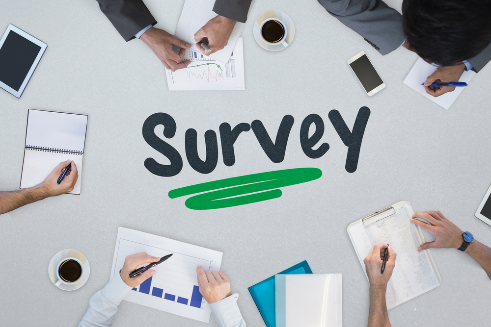 The word survey against business meeting
